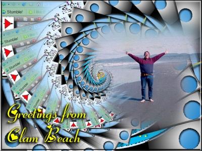 Greetings from Clam Beach Postcard - Picture of Gregory Vanderlaan