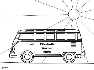 Free Coloring Book by gvan42 - VW BUS - Elizabeth Warren for President