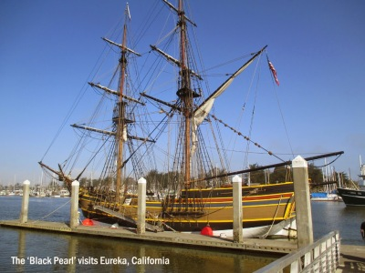 The Black Pearl sailing ship in Humboldt Bay