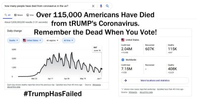 Over 115,000 Americans Have Died From tRUMP's Coronavirus. MEME gvan42